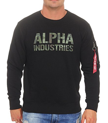 ALPHA INDUSTRIES Herren Camo Print Sweat Sweatshirt, Black/Woodland, XL