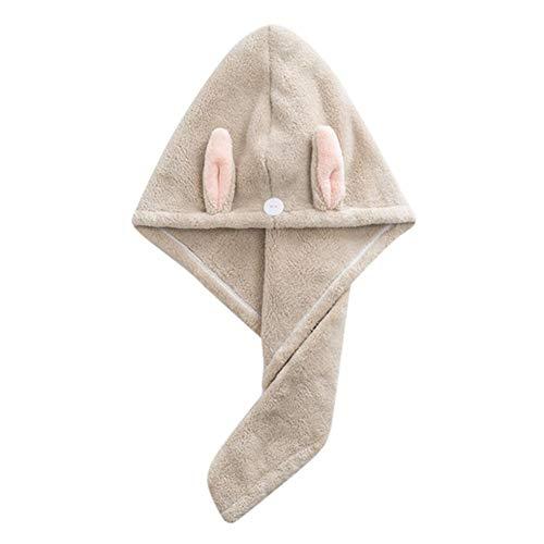 Lindo conejo Toalla de baño Secado rápido Secado rápido Señora Toalla de baño Gorro de ducha suave Sombrero para dama Niños Turbante Abrigo de cabeza Herramientas de baño-Caqui, China
