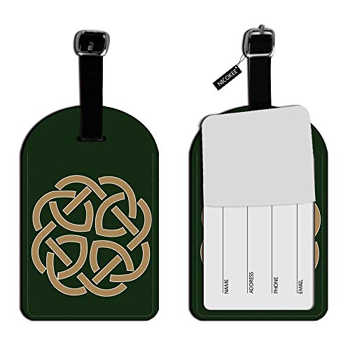Nicokee Celtic Knot Love Eternity Luggage ID Tags Suitcase Carry-On Cards Leather Luggage Tags Suitcase Label Travel Accessories