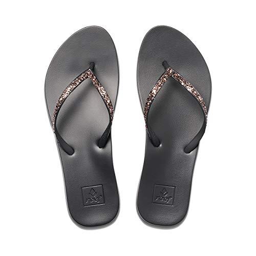 Reef Women's Sandals Cushion Bounce Stargazer   Glitter Flip Flops for Women With Cushion Bounce Footbed, BLACK/BRONZE, 7 US medium