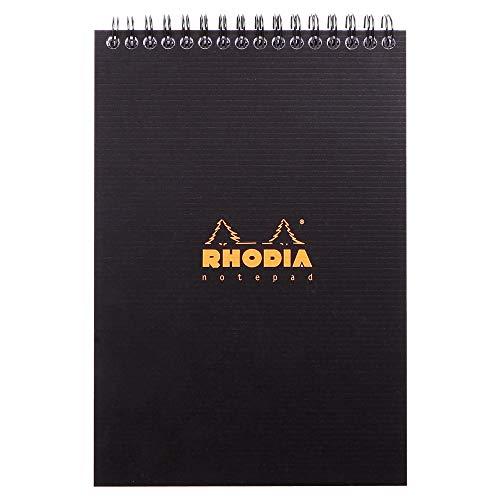 Rhodia 16920C - bloc à reliure intégrale (spirale) Rhodiactive notepad noir, A5 (14,8x21 cm), 80 feuillets détachables, petits carreaux 5x5, papier Clairefontaine blanc 90 g/m², couverture polypro