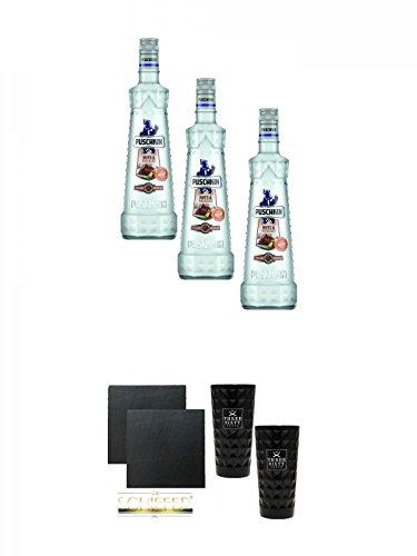 Puschkin Nuts & Nougat 3 x 0,7 Liter + Schiefer Glasuntersetzer eckig ca. 9,5 cm Ø 2 Stück + Three Sixty black Vodka Glas 2 Stück (black)