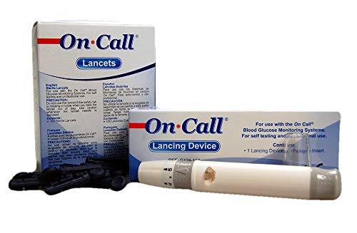 On Call Stechhilfe + 100 On Call Lanzetten   Zur sicheren und schnellen Abnahme eines Tröpchens Blut aus dem Finger   Für alle Swiss Point Of Care und On Call Messgeräte