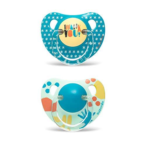 Suavinex, Pack 2 Chupete con tetina anatómica de Silicona para Bebés, Azul Picnic, +18 Meses