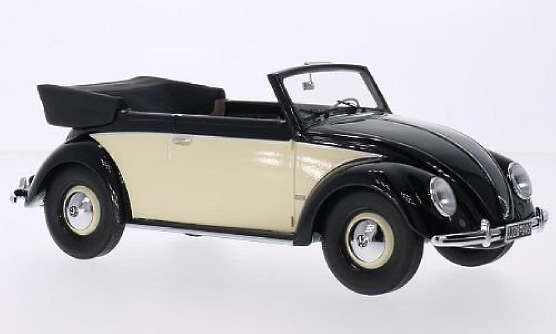 VW Kfer 1200 Cabriolet, schwarz beige, 1949, Modellauto, Fertigmodell, Minichamps 1 18