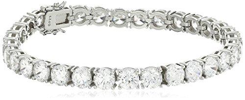 Platinum Plated Sterling Silver Tennis Bracelet set with Round Cut Swarovski Zirconia, 8'