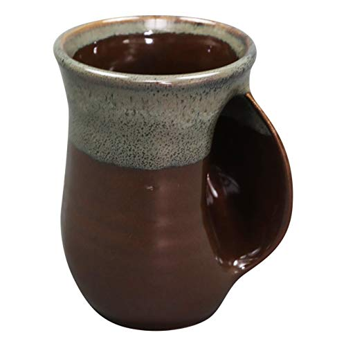 Clay in Motion Handwarmer Mug - Mocha - Right Handed,Brown,14oz.