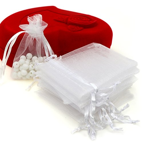 Akstore 100pcs 3.6x4.8''(9x12cm) Organza Gift Bags, Drawstring Pouches Jewelry Party Wedding Favor Gift Bags,Candy Bags. (White)