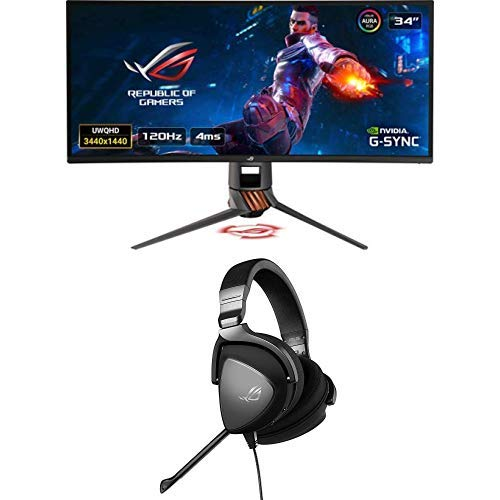"ASUS ROG SWIFT Curved PG349Q, 34"" UWQHD, 3440 x 1440, Gaming Monitor, IPS, up to 120Hz, DP, HDMI, USB 3.0 + ROG Delta CORE Cuffie Gaming, Driver Essence e Cuscinetti Auricolari Ergonomici"