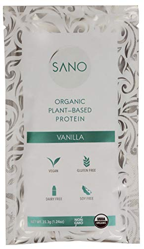 SANO Organic Vanilla Bean Plant Based Protein Powder, Vegan, Keto Friendly, Low Net Carbs, Non Dairy, Gluten Free, Sugar Free, Lactose Free, Soy Free, Non-GMO, 28 Single Serving Packets