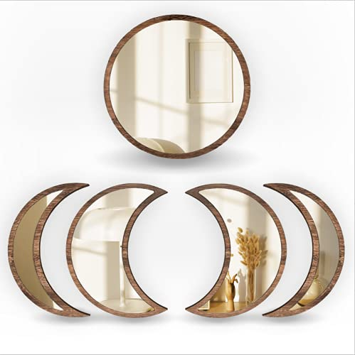 SHMITBERG Moon Phase Mirror Set - 100% Real Glass, Wooden Frame. Scandinavian Boho Wall Decor for Bedroom and Living Room Wall (Brown)