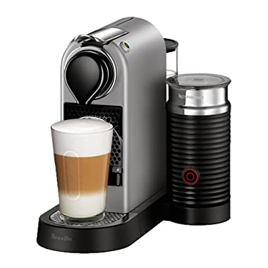 Nespresso CitiZ Original Espresso Machine with Aeroccino Milk Frother Bundle by Breville, Silver