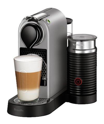 Nespresso CitiZ Espresso Machine Bundle with Aeroccino Milk Frother by Breville, Silver