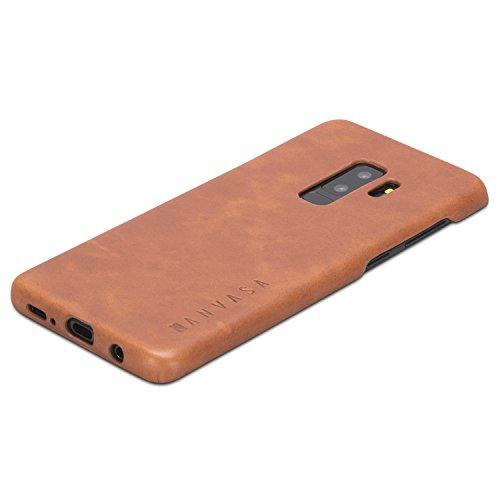 """KANVASA Galaxy S9 Plus Custodia in Pelle Marrone Cover Ultrasottile One per Samsung Galaxy S9+ (6,2"""") Unisex - Borsetta di Lusso in Vera Pelle - Case di Protezione Ottimale & Cuoio Premium"""