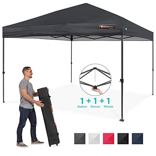 Best Choice Products 10x10ft One Person Setup One Button Instant Pop Up Portable Canopy Shelter w/Wheeled Carry Case, Stakes - Gray