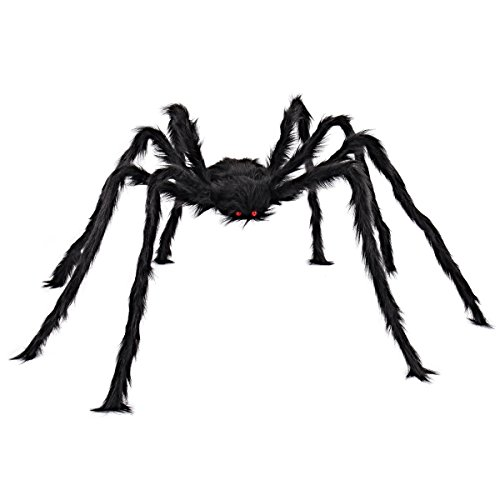 JOYIN 5 Ft. Halloween Outdoor Decorations Hairy Spider,Scary Giant Spider Fake Large Spider Hairy Spider Props for Halloween Yard Decorations Party Decor, Black