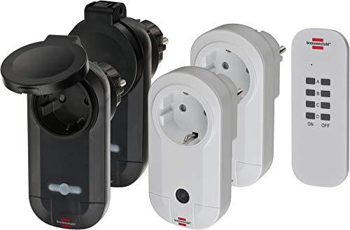 Brennenstuhl Funkschalt-Set RC CE1 2201, 4er Funksteckdosen Set (Innen- und Außenbereich, mit Handsender, IP20/IP44 Schutz und erhöhtem Berührungsschutz) weiß/schwarz