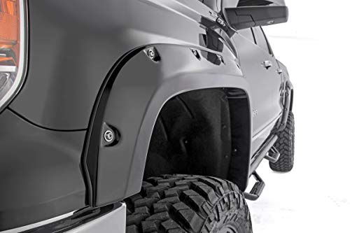 Rough Country Pocket Fender Flares (fits) 2014-2015 Chevy Silverado 1500 | 5.8 FT | Bolt-On Style | Black | F-C11413