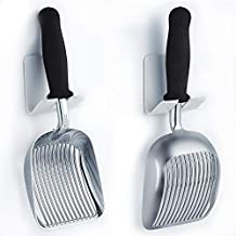 iPrimio Scoop Monster Cat Litter Scoop with Easy Grip Soft Foam Handle for Sore Hands - Fast Sifter/Deep Shovel. Patented. (Large Polished Aluminum)