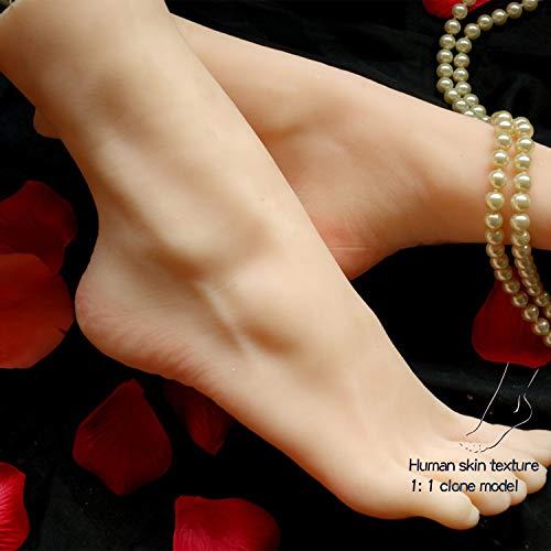 Ongles modèle Pied humain avec l'artiste réglable posable stand deux couleurs flexible pour ongles en acrylique dessin d'art d'affichage de bijoux,Light color