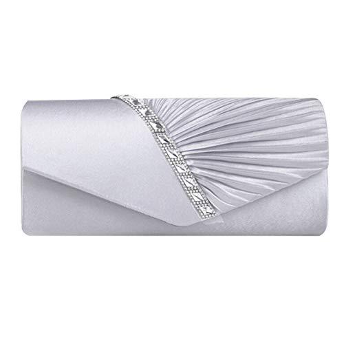 AiSi Damen Satin Clutch Strass Abendtasche mit Kette mini Handtasche für Hochzeit (Silber)