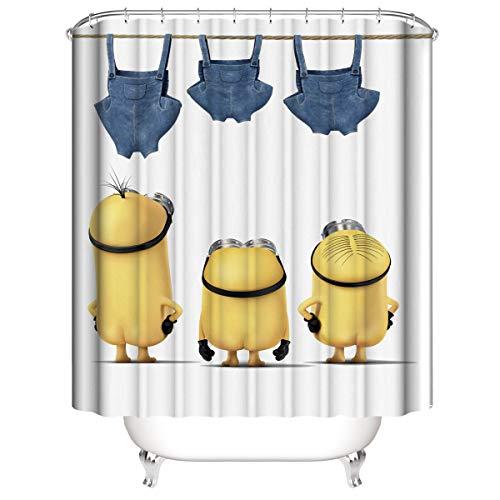 PAWANG Minions Haushaltsduschvorhang 12 Haken & gewichteter Saum, wasserdicht & schimmelresistent Leicht zu reinigender Duschvorhang für Dusche & Badewanne 150X180CM