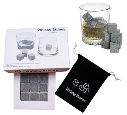 PCWS 9 Stück Whiskey Steine aus natürlichem Granit | MIT Beutel | In Grau | Wiederverwendbare Whiskysteine, Whiskey Stones, Würfel, Kühlsteine | Ideal für Vodka, Gin, Cocktail, Coktail