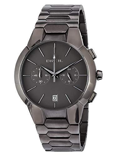 BREIL - Herrenkollektion Armbanduhr New ONE TW1848 - Wasserdichter Herren Chronograph - Edelstahlarmbanduhr - TMI VK64 Uhrwerk - Schwarzes Zifferblatt mit Edelstahlband