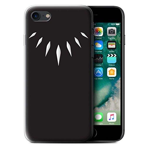 Stuff4 Gel TPU Hülle/Case für Apple iPhone 7 / T'Challa Klauenhalskette Muster/Schwarzer Panther Inspiriert Kollektion