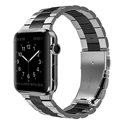 Compatible with Apple Watch Band 40mm Series 5 4 38mm Series 3 2 1 Stainless Steel Metal, PUGO TOP Iwatch iPhone Watch Link Bracelet Band for Men(Black with Silver, 38mm/40mm)