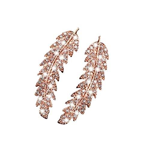 Arichtop 1 par Diseño de la Hoja Zircons Mujeres del Pendiente Brillante Que cuelgan el Pendiente de Las niñas oído de la joyería, de Oro Rosa