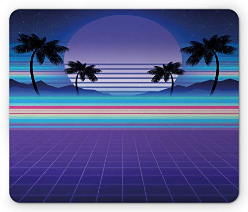 Ambesonne Synthwave Mouse Pad, Retrowave Design of Colorful Funky Stripes and Palms Galactic Moon, Rectangle Non-Slip Rubber Mousepad, Standard Size, Blue Violet Multicolor