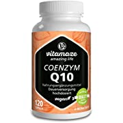 Vitamaze Coenzyme Q10 200mg per capsule vegan 120 capsules for 4 months best bioavailability premium product without the release agent magnesium stearate
