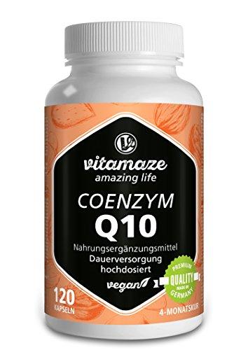 Vitamaze® Coenzym Q10 hochdosiert 200 mg pro Kapsel vegan 120 Kapseln für 4 Monate beste Bioverfügbarkeit Made-in-Germany ohne Magnesiumstearat