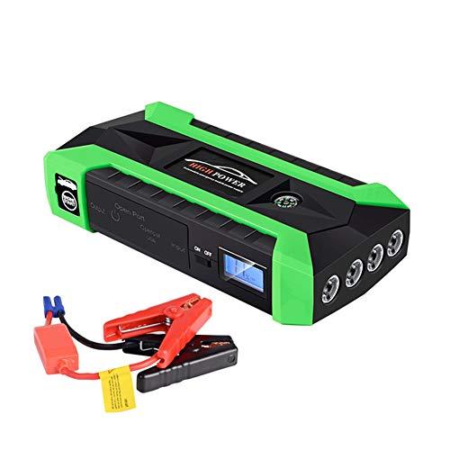 Balscw Car Mobile Power, Recharge de téléphone Portable, 20000Mah, Courant de Pointe 600A, Voiture à Essence 6.0, Voiture Diesel 3.0, Feux à LED / 4 USB, Marteau de sécurité, Green