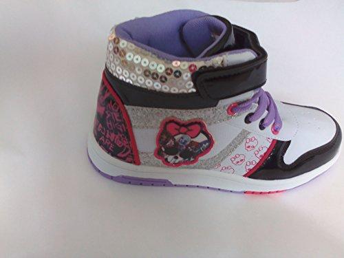 Monster High Chaussures Baskets / Tennis Montantes à Lacets et à Scratch Blanc, Noir Rose, Mauve, Paillette et Strass, Logos Pointure 32