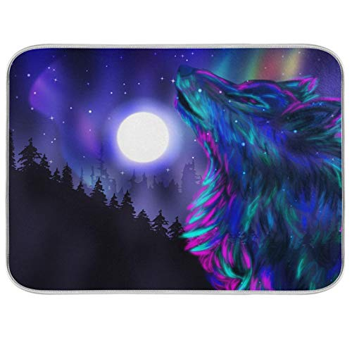 Ghypt - Escurridor para platos de cocina colorido aullando lobo luna noche absorbente de microfibra antideslizante de secado rápido lavable para el hogar 40,6 x 45,7 cm