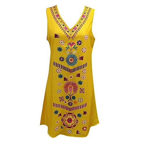 XIAYUTIAN Dames Zomer Pomisi Losse Strand Jurk Vakantie Boho Print Party Cocktail Sundress Lady Vroege Jurken Geel