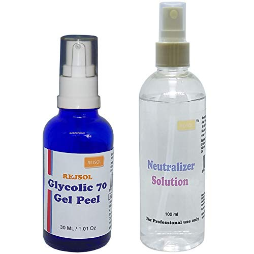 REJSOL Glycolic 70 Gel Peel, Glycolic Acid 70% 30 ml with Neutralizer 100 ml Chemical Peel, Peeling Kit
