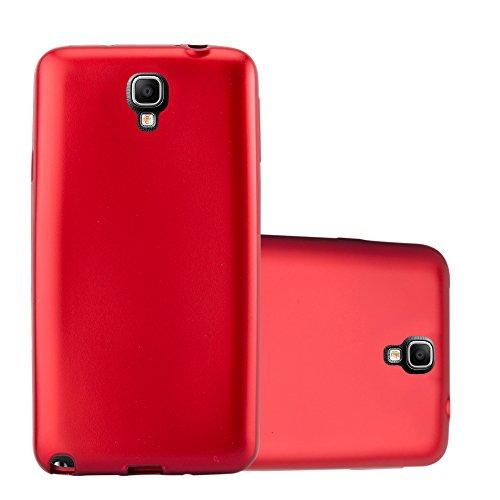 Cadorabo Hülle für Samsung Galaxy Note 3 NEO - Hülle in METALLIC ROT – Handyhülle aus TPU Silikon im Matt Metallic Design - Silikonhülle Schutzhülle Ultra Slim Soft Back Cover Case Bumper