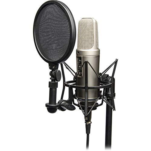 """Rode NT2-A Pacchetto completo, Microfono a Condensatore, Doppio Diaframma Largo da 1"""", Risposta Polare Cardioide/Omni/Figura 8, Comprende SM6, Argento"""