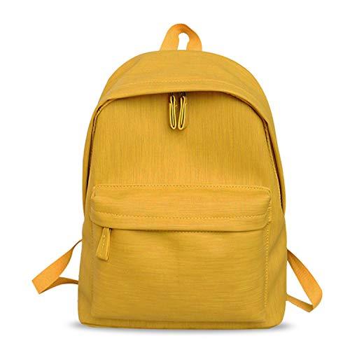FANDARE Rucksack Damen Schultertasche Schultasche Casual Klein Rucksäcke Wasserdicht Daypacks Mädchen Kinderrucksäcke PU Campus College Bag Gelb