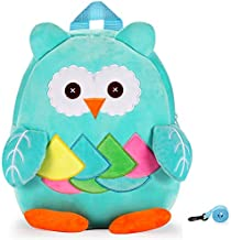 Cute Toddler Backpack Stuffed Cartoon Animal Mini Schoolbag For 1-5 Year Old Boys And Girls (Blue owl)