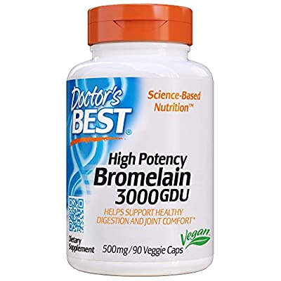 Doctor?s Best 3000 GDU Bromelain Proteolytic Digestive Enzymes Supplements, Supports Healthy Digestion, Joint Health, Nutrient Absorption, 500 mg, 90 VC