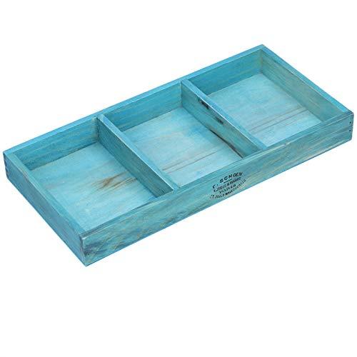 Alvinlite Bandeja de clasificación de Madera Retro, Caja de Almacenamiento Azul, Escritorio Rectangular, 3 Compartimentos, Bandeja de Almacenamiento de artículos...