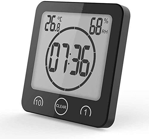 Orologio da bagno con sveglia digitale, con ventosa, per doccia, con display LCD, temperatura di umidità, conto alla rovescia, timer per doccia, cucina, colore: nero