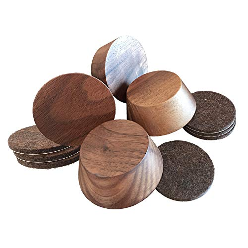 Prime Woodcraft Walnut Wood Furniture Risers (4 Pack) | Adds 1 Inch Extra Height for Cleaning & Convenience | Bed Risers, Desk Riser, Table Risers, Furniture Legs, Sofa Risers |Heavy Duty (Walnut)
