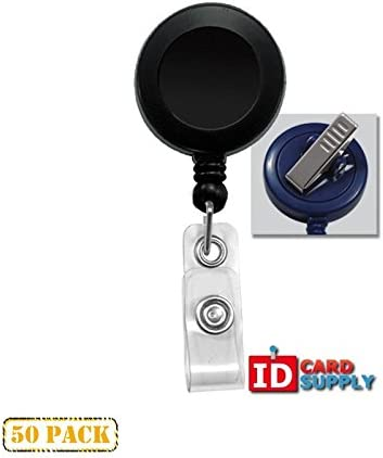 50 x Clear Badge Reel With Clear Vinyl Strap /& Swivel Spring Clip
