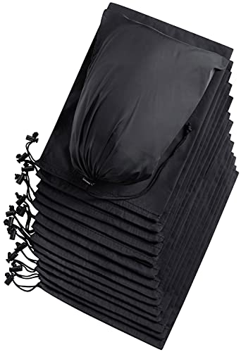 Drawstring Bag - UltraLight Nylon Cinch and Ditty Pouch for Storage, Wardrobe, Travel, Household Organization (8 x 11 - 15 pack, Black)