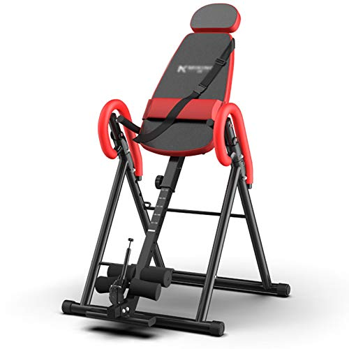 LQQ Adjustable Inversion Table Gravity Heavy Duty Inversion Equipment Foldable Back Stretcher Machine Home Trainer Chair for Pain Relief Therapy